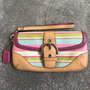 Coach Striped Pastel Leather Trim Canvas Wristlet